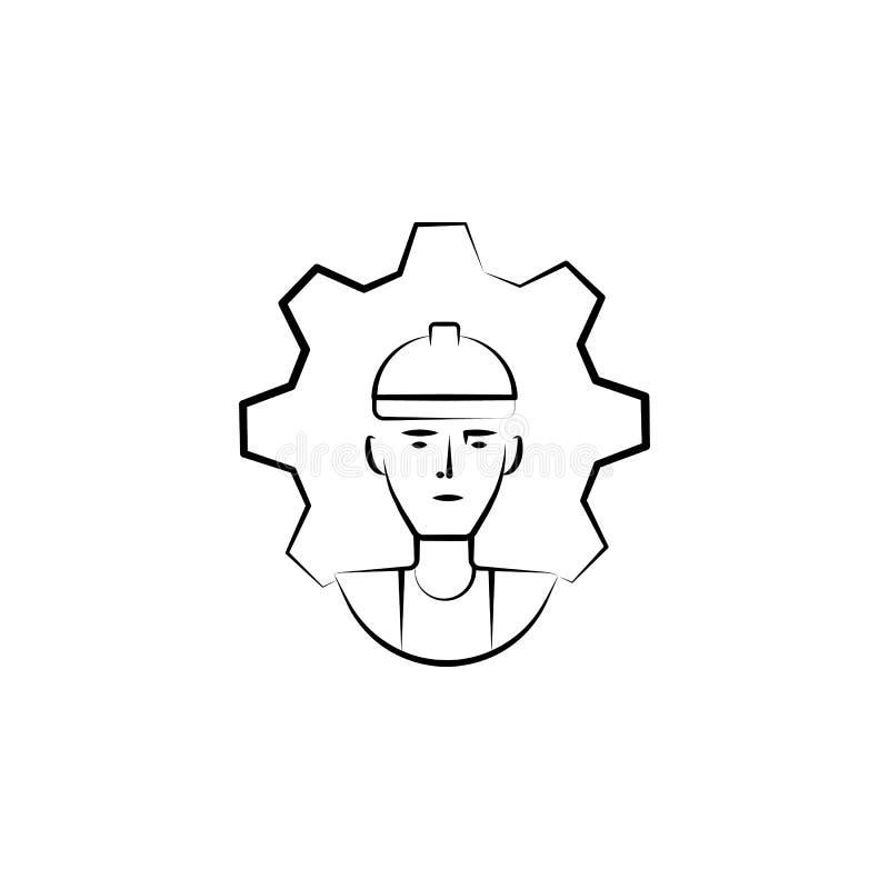 fabbrica, processo, icona disegnata a mano del lavoratore Progettazione di simbolo del profilo dall'insieme di affari illustrazione di stock