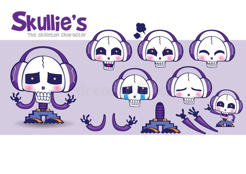 Fabbrica-Skullie's della mascotte del fumetto immagini stock libere da diritti