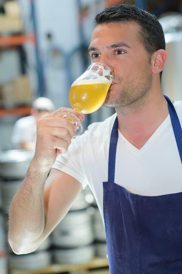 Fabbricante di birra bello in birra uniforme dell'assaggio alla fabbrica di birra immagine stock libera da diritti