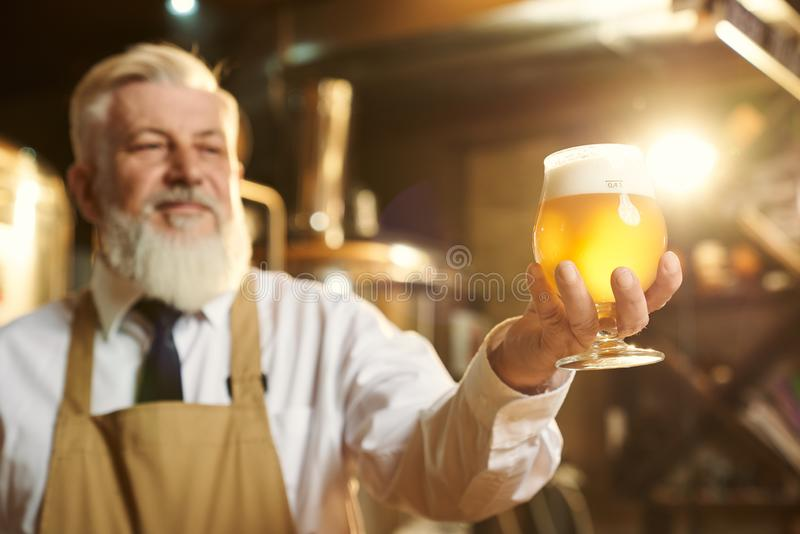 Fabbricante di birra positivo che tiene il vetro di birra con schiuma immagini stock
