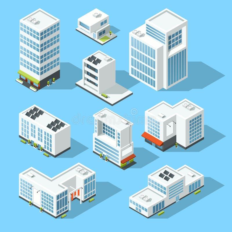 Fabbricati industriali isometrici, uffici e case fabbricate insieme dell'illustrazione di vettore della mappa 3d royalty illustrazione gratis