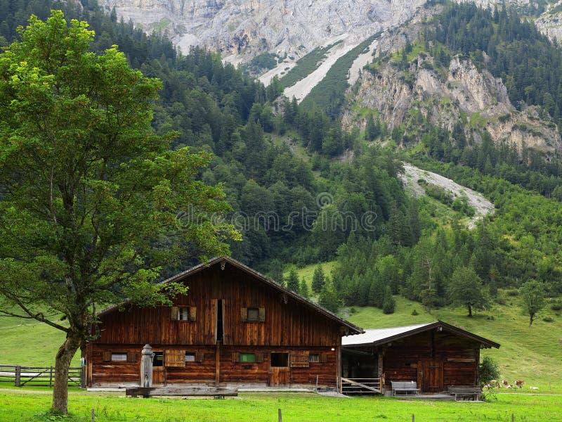 Fabbricato agricolo nel paesaggio della montagna immagini stock libere da diritti