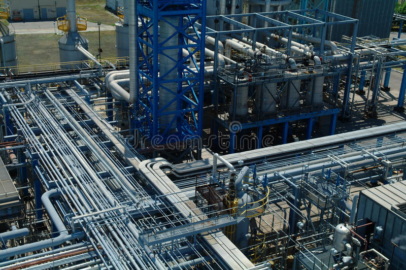 Fabbricazione chimica, costruzione di impianti immagine stock