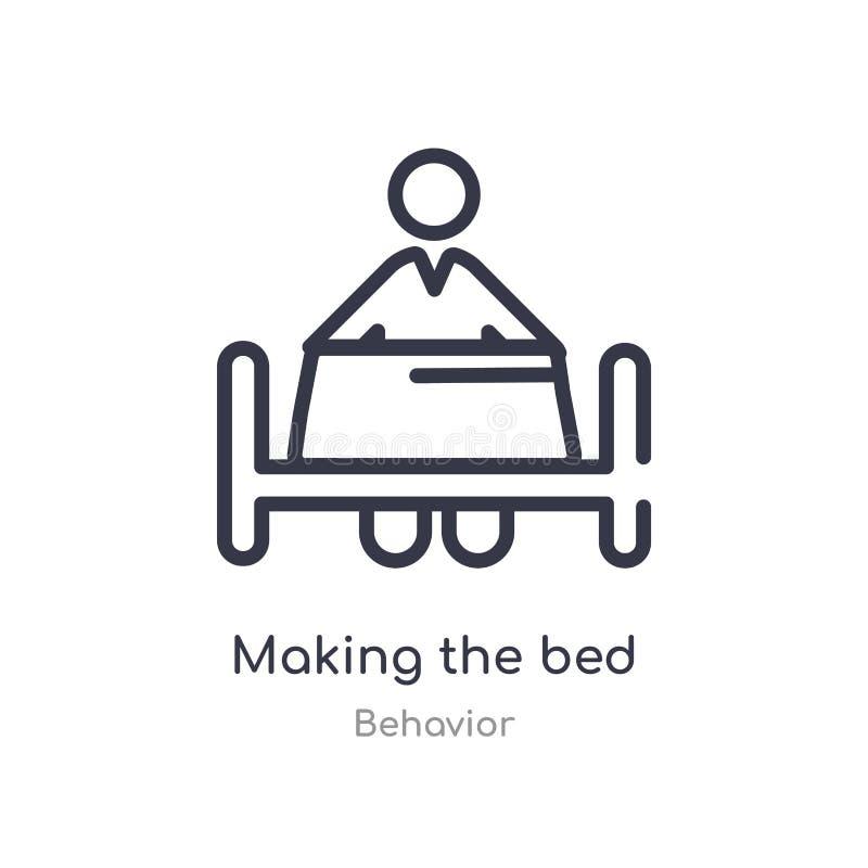 fabbricazione dell'icona del profilo del letto linea isolata illustrazione di vettore dalla raccolta di comportamento colpo sotti illustrazione vettoriale