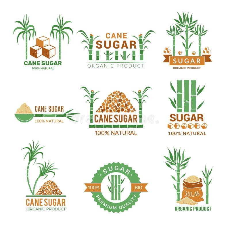 Fabbricazione della canna da zucchero Il vettore della foglia dell'industria dell'azienda agricola di produzione vegetale dei dol royalty illustrazione gratis