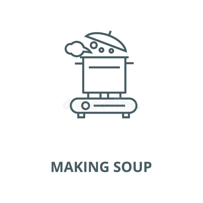 Fabbricazione della linea icona di vettore della minestra, concetto lineare, segno del profilo, simbolo royalty illustrazione gratis