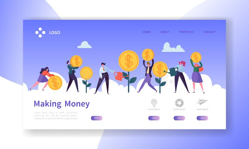 Fabbricazione della pagina di atterraggio dei soldi Insegna di investimento aziendale con i caratteri piani della gente che conse illustrazione vettoriale