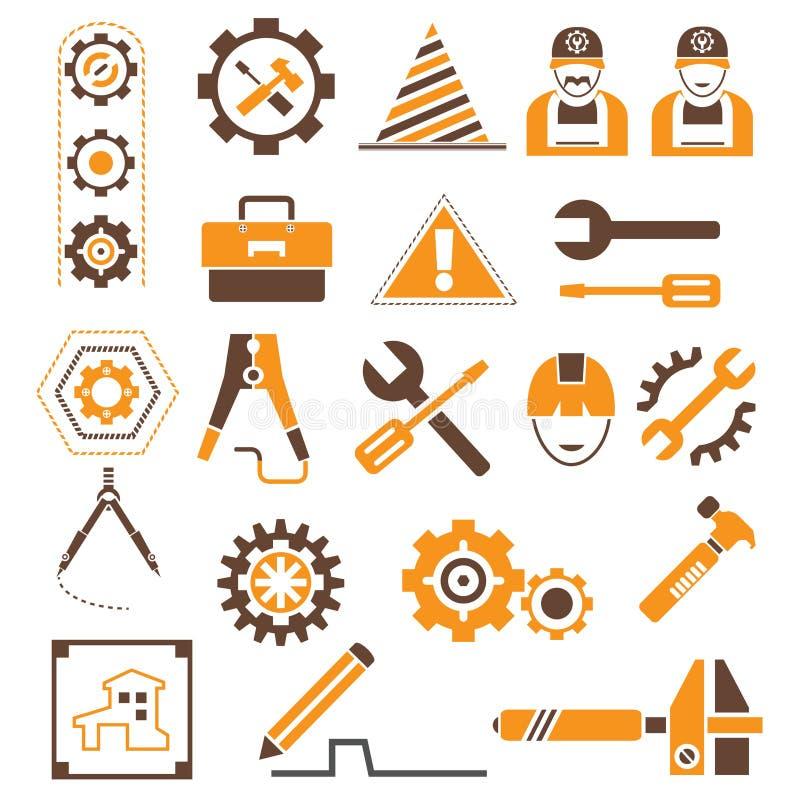 Fabbricazione, icone di ingegneria royalty illustrazione gratis