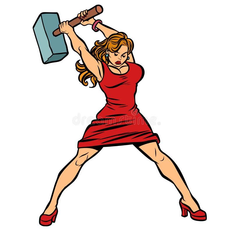 Fabbro della donna in vestito, grande martello a disposizione royalty illustrazione gratis