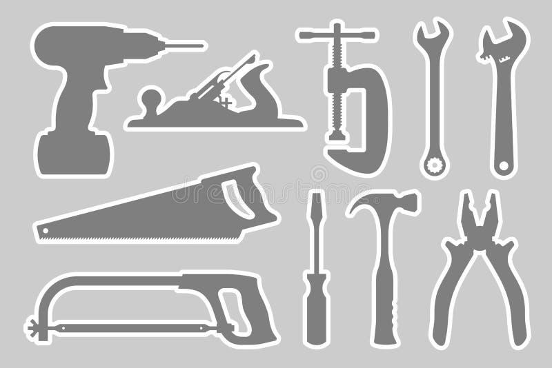 Fabbro e set di strumenti di carpenteria royalty illustrazione gratis