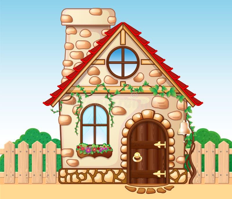Fabelachtig comfortabel huis met een houten omheining vector illustratie