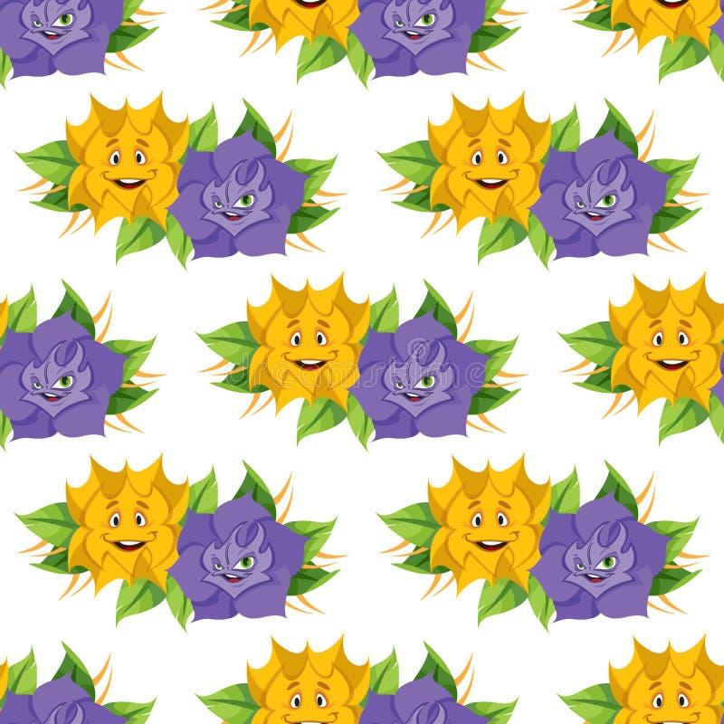 Fabelachtige bloem van de Avonturen van sprookjealice in Sprookjesland Naadloos patroon van gele en lilac rozen stock illustratie