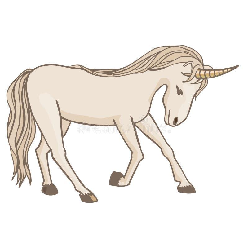 Fabelachtige eenhoorn op witte achtergrond vector illustratie