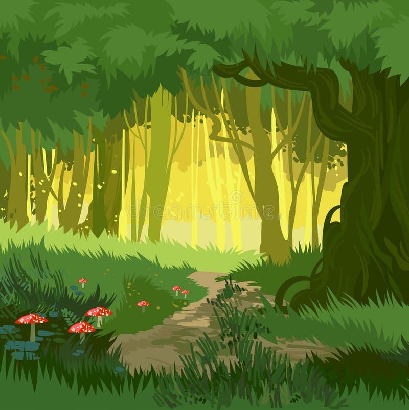 Fabelachtige heldergroene de zomer magische bos vectorpaddestoelen als achtergrond stock illustratie