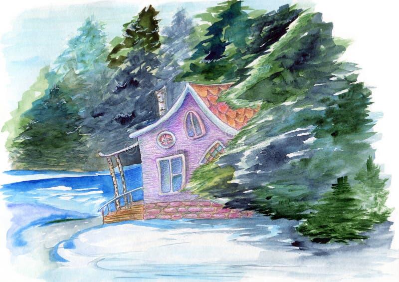 Fabelachtige waterverfhand getrokken illustratie met fairyhouse in de winter bosdieGeheimzinnigheid huis door bomen en water op w stock illustratie