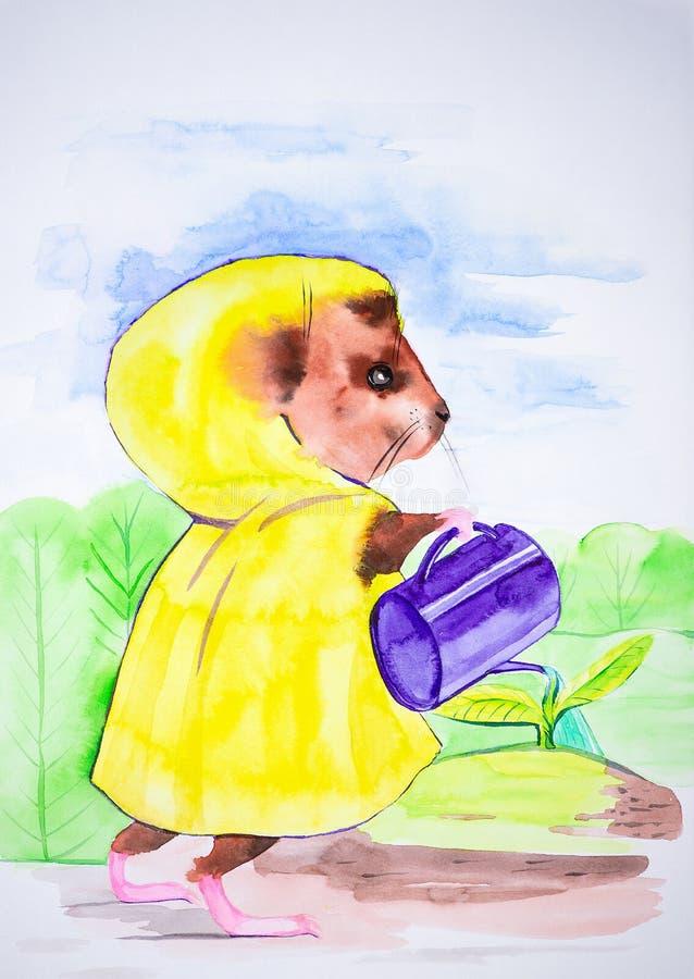 Fabelhaftes Meerschweinchen Anlagen einer in den gelben Mantelbewässerung im Garten Komische helle Aquarellillustration lizenzfreie abbildung
