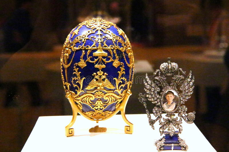 Faberge eggs exhibition royalty free stock photo