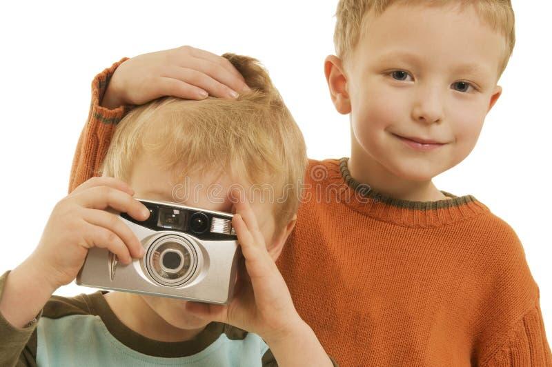 Fabian e Maxi com câmera foto de stock