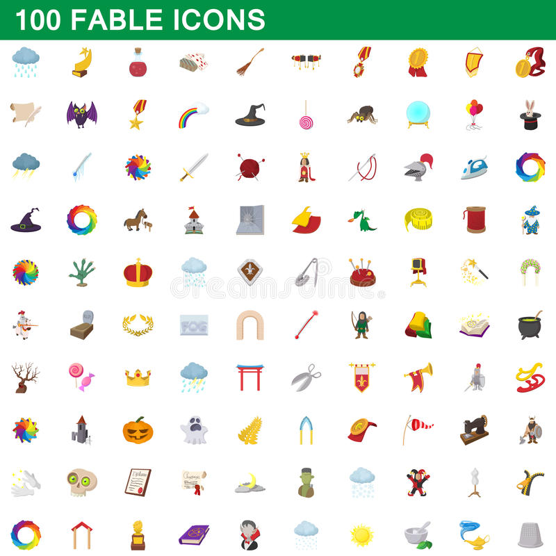100 fable icons set, cartoon style vector illustration