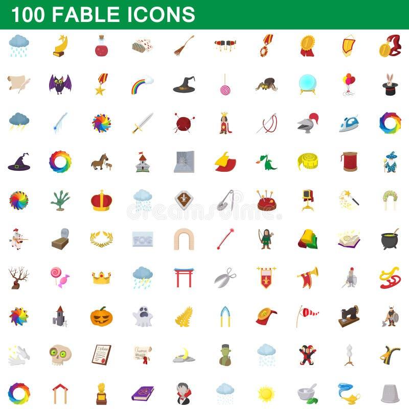 100 fable icons set, cartoon style stock illustration