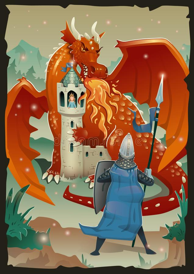 Fable scene with dragon, medieval castle, princess and knight. Flat vector illustration, vertical. royalty free illustration