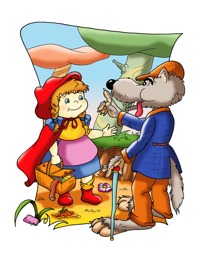Fable of Little Red Riding Hood royalty free illustration