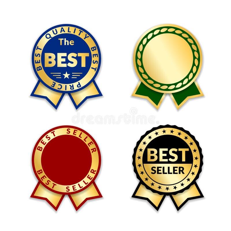 Faborek nagrody bestselleru set Złocistej tasiemkowej nagrody ikony odosobniony biały tło Bestseller etykietki sprzedaży złota et royalty ilustracja