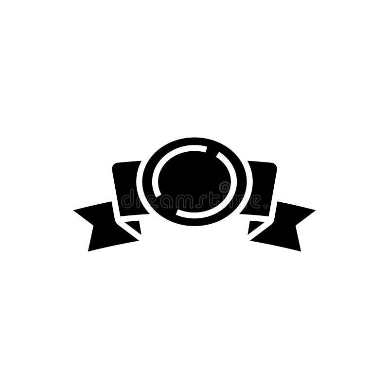 Faborek 2 osacza z nagrody ikoną, wektorowa ilustracja, czerń znak na odosobnionym tle royalty ilustracja