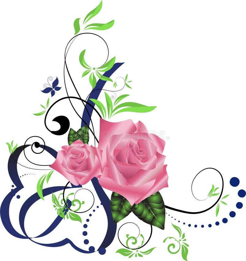 Faborek róży kąta granica royalty ilustracja
