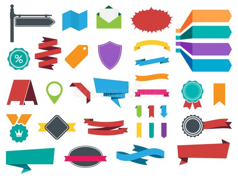 Faborków sztandarów etykietek majcherów wektoru set ilustracji