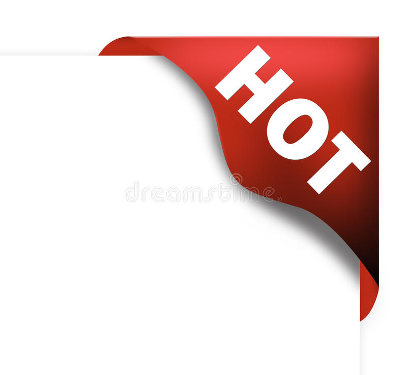 faborku narożnikowy gorący czerwony znak royalty ilustracja