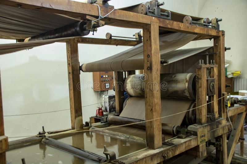 Paper and Watermark Museum. Fabriano - Italy - On april 2019 - antique paper making machine in the Paper and Watermark Museum of Fabriano stock photos