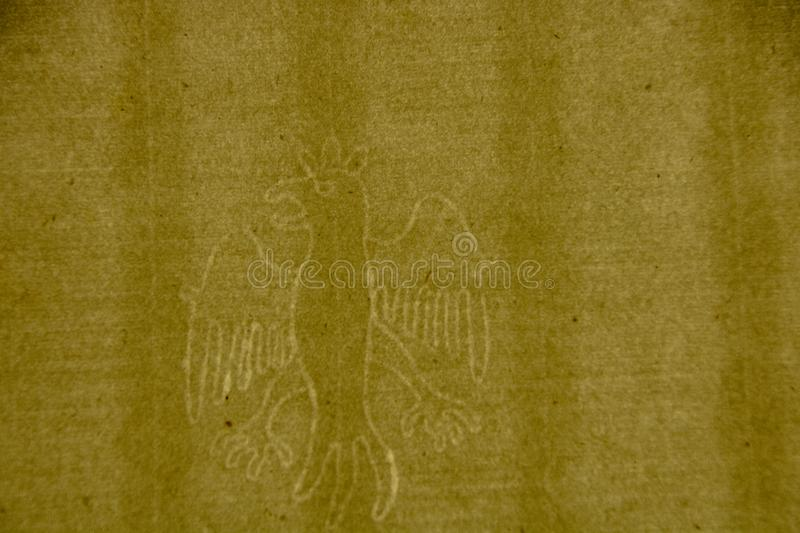 Paper and Watermark Museum. Fabriano - Italy - On april 2019 - watermark in form of an eagle,  in the Paper and Watermark Museum royalty free stock photo