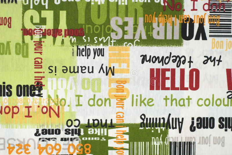 Fabric. Abstract fabric with various text royalty free stock photo