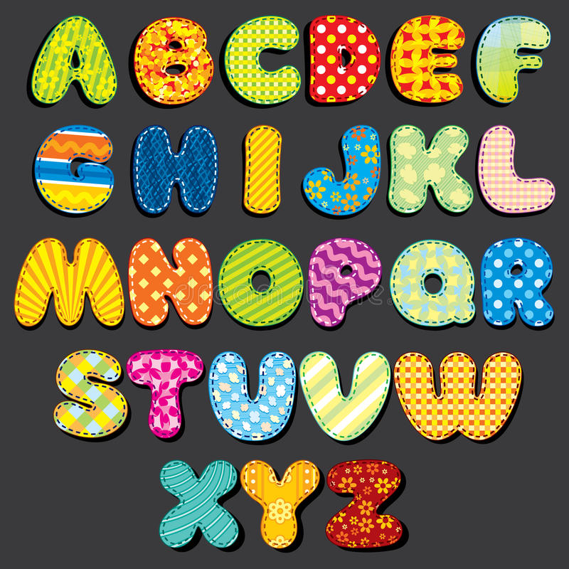 Free Fabric Alphabet. Fun Cartoon Letters Patches Royalty Free Stock Photography - 71557277
