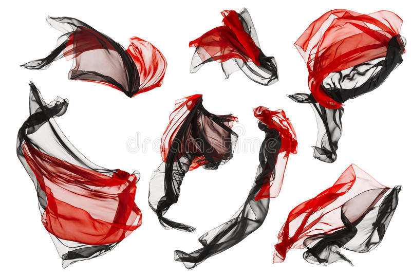 Fabric Cloth Flow and Waves, Folded Satin Fly Red Black on White stock photo