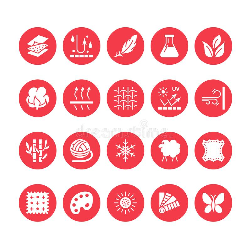Fabric feature, clothes material vector flat glyph icons. Garment property symbols. Cotton wool, waterproof, wind. Resistant, uv protection. Wear label, textile vector illustration