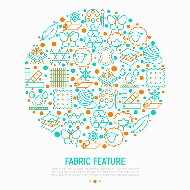 Fabric feature concept in circle. With thin line icons: leather, textile, cotton, wool, waterproof, acrylic, silk, eco-friendly material, breathable material royalty free illustration