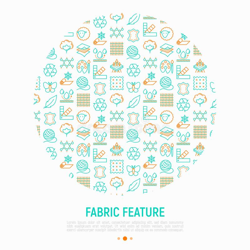Fabric feature concept in circle. With thin line icons: leather, textile, cotton, wool, waterproof, acrylic, silk, eco-friendly material, breathable material vector illustration
