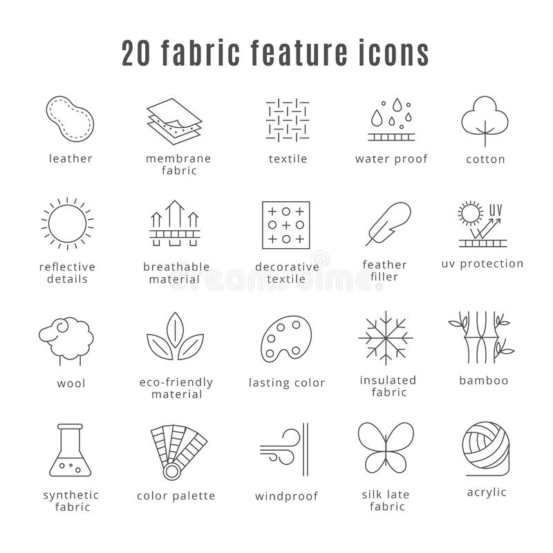 Fabric feature line icons. Comfort wear and lightweight, synthetic clothes wool waterproof clothing signs. Fabric feature line icons. Comfort wear and stock illustration