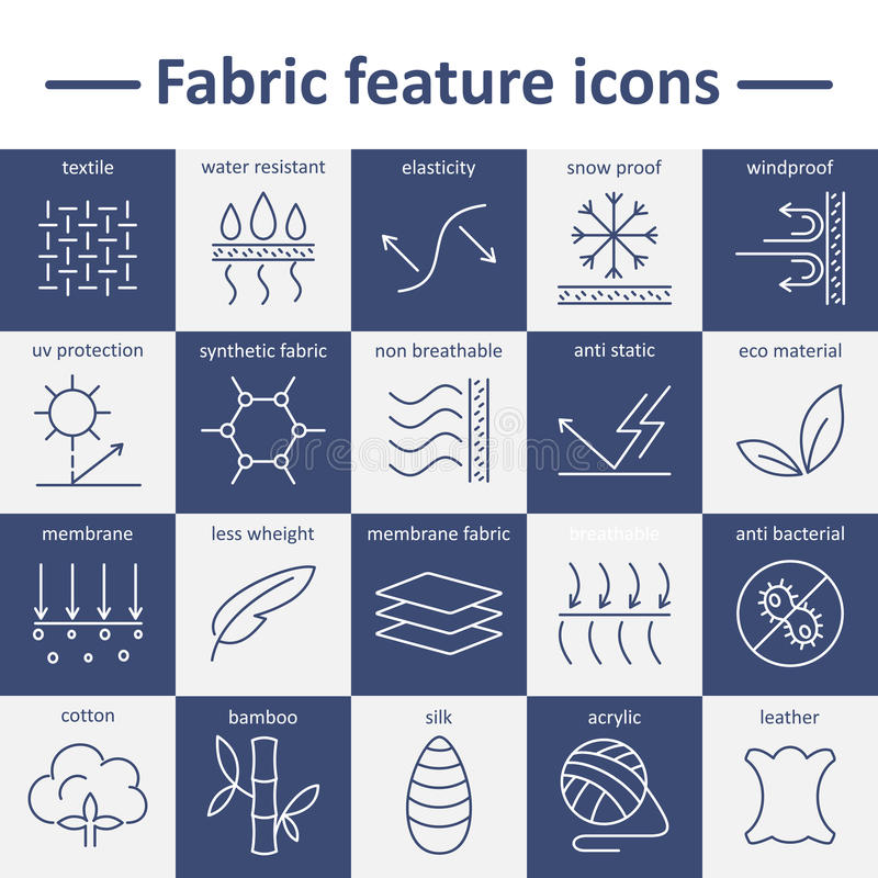 Fabric feature line icons. Pictograms with editable stroke. Fabric and clothes feature line icons. Linear wear labels. Elements - cotton, wool, waterproof, uv stock illustration