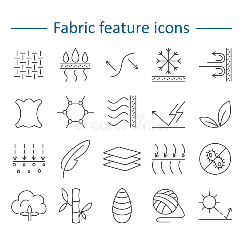 Fabric feature line icons. Pictograms with editable stroke for g. Fabric and clothes feature line icons. Linear wear labels. Elements - cotton, wool, waterproof royalty free illustration