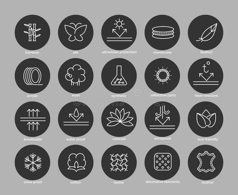 Fabric feature line icons set. In black circles. Vector illustration stock illustration