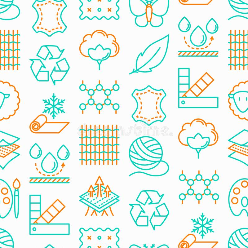 Fabric feature seamless pattern. With thin line icons: leather, textile, cotton, wool, waterproof, acrylic, silk, eco-friendly material, breathable material royalty free illustration
