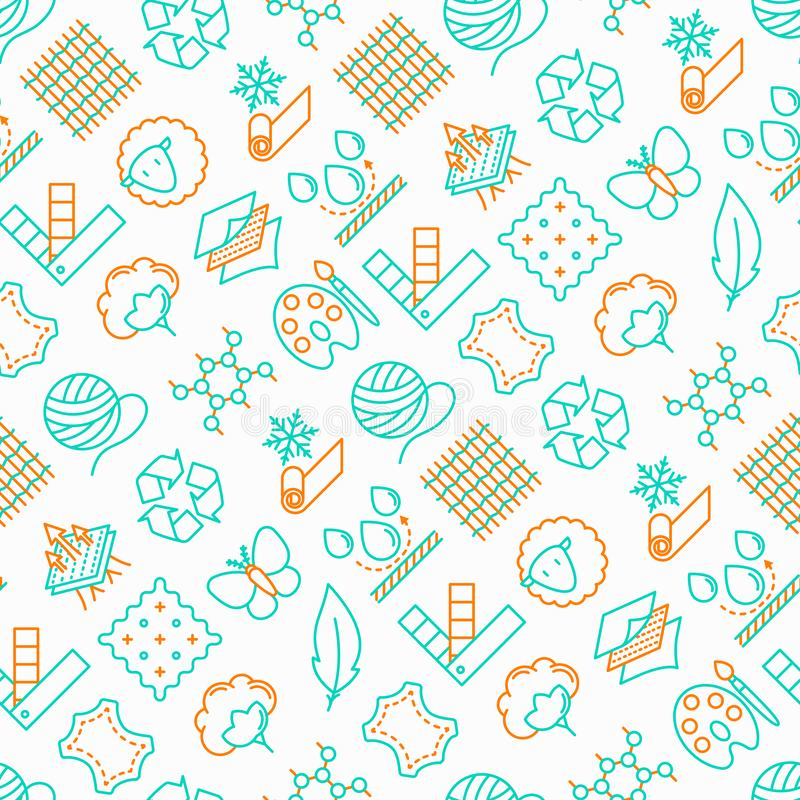 Fabric feature seamless pattern. With thin line icons: leather, textile, cotton, wool, waterproof, acrylic, silk, eco-friendly material, breathable material stock illustration