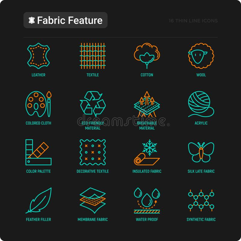 Fabric feature thin line icons set. Leather, textile, cotton, wool, waterproof, acrylic, silk, eco-friendly material, breathable material. Modern vector royalty free illustration