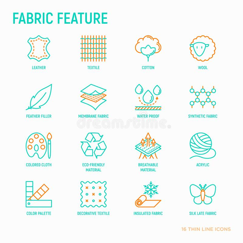 Fabric feature thin line icons set. Leather, textile, cotton, wool, waterproof, acrylic, silk, eco-friendly material, breathable material. Modern vector vector illustration