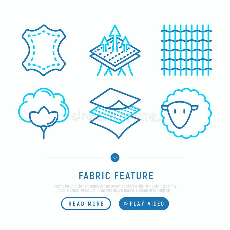 Fabric feature thin line icons set. Leather, textile, cotton, wool, waterproof, breathable material. Modern vector illustration vector illustration