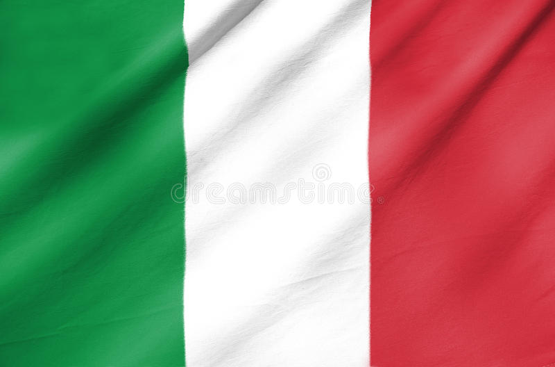 Fabric Flag of Italy stock photos