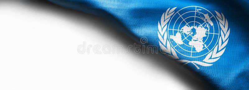 Flag of United Nations on white background stock photography